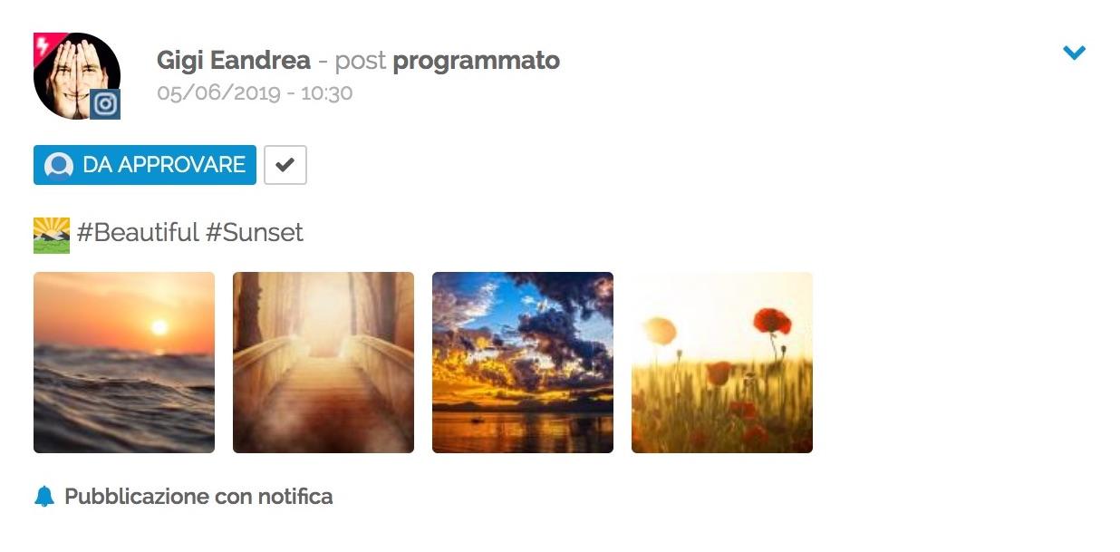Un post carosello programmato in PostPickr