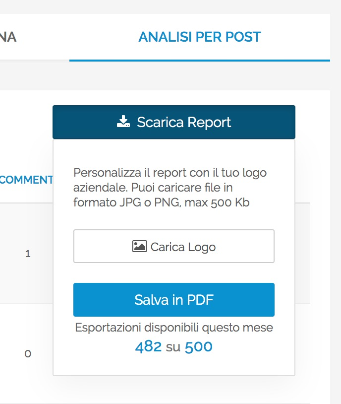 "Audience - Esportazione dalla tab ""Analisi dei Post"""