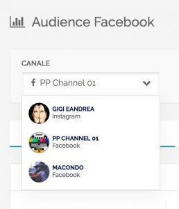 Audience - Menu di cambio rapido del\ canale da analizzare