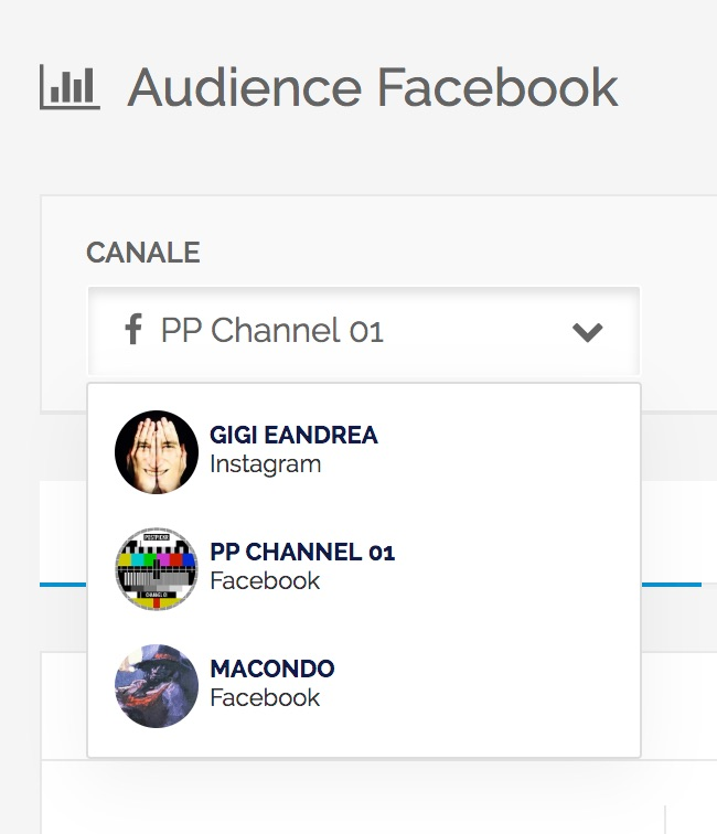 Audience - Menu di cambio rapido del canale da analizzare