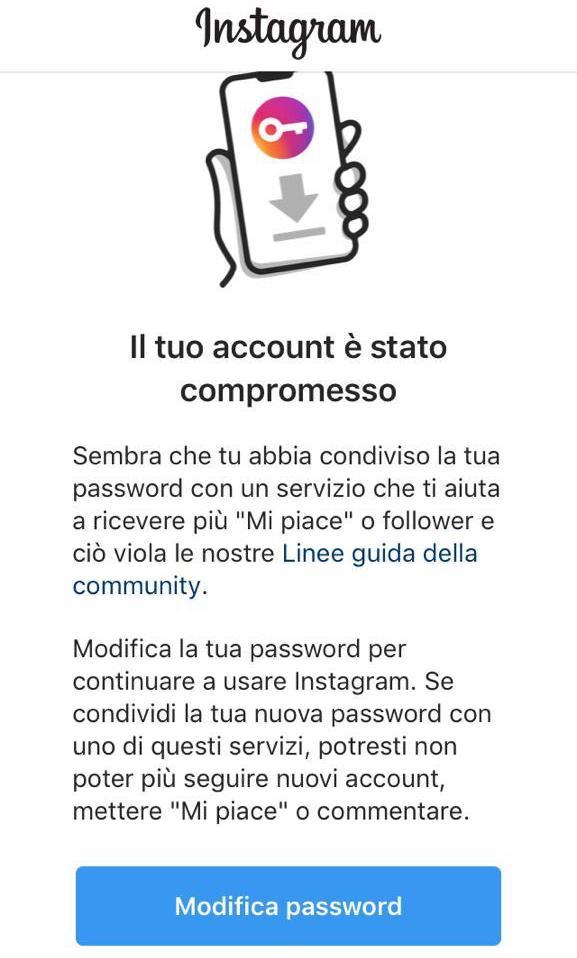 """Avviso di Instagram """"Il tuo account è stato compromesso"""""""