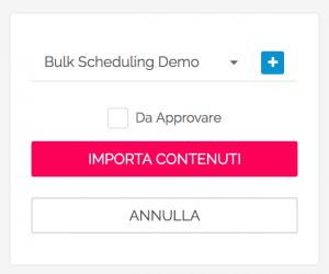 Bulk scheduling - salvare i contenuti in una Rubrica