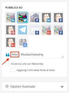 Bulk scheduling - selezione canale social
