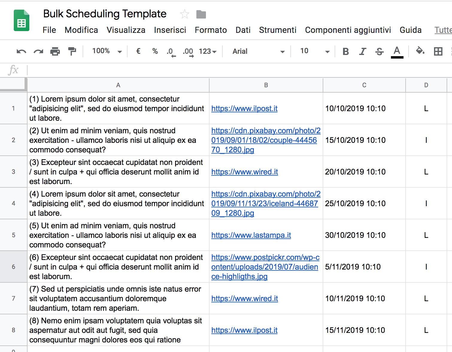 template per il bulk scheduling