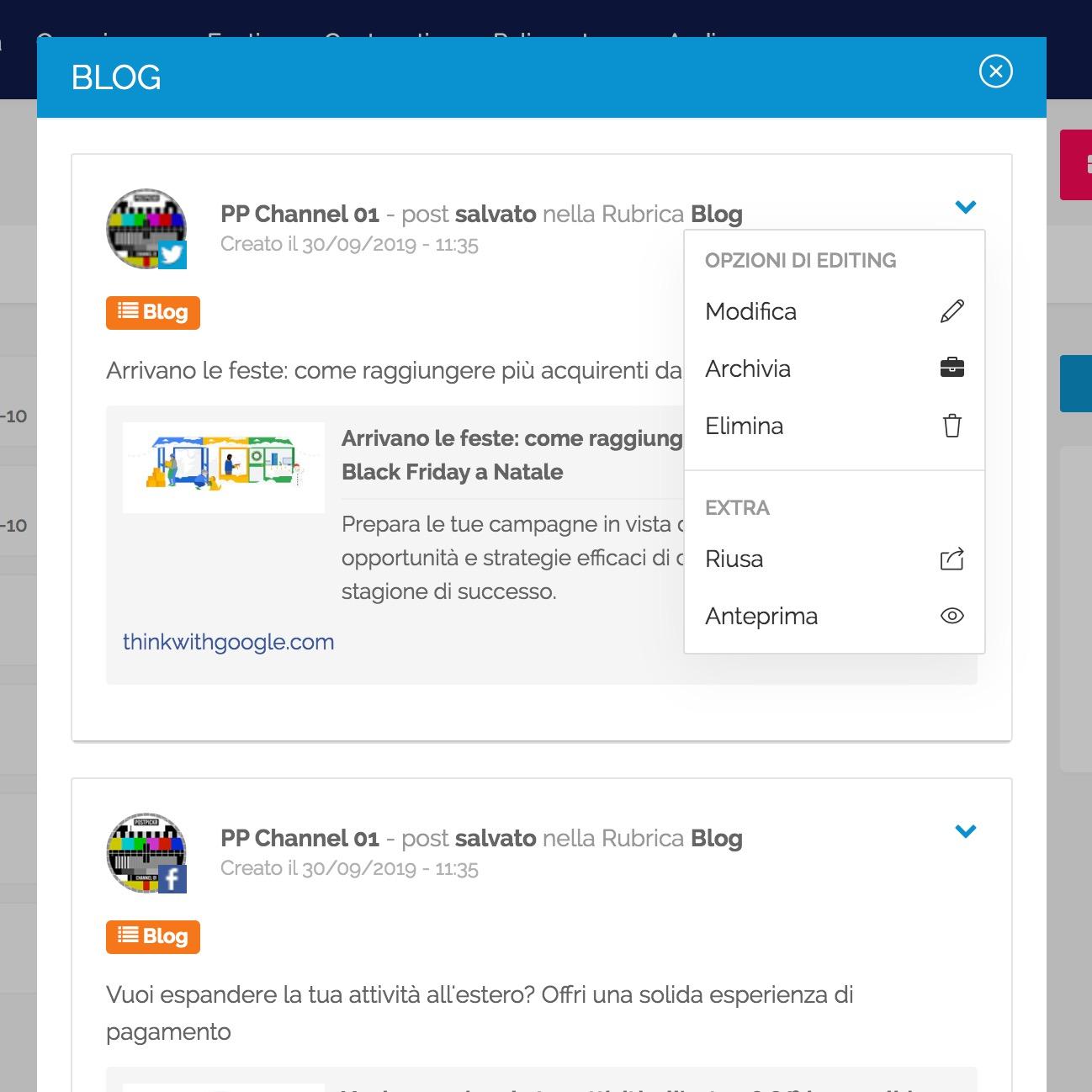 Finestra per visualizzare e modificare i contenuti