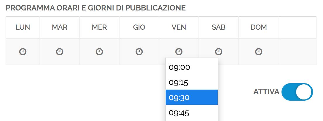 imposta giorni e orari di pubblicazione