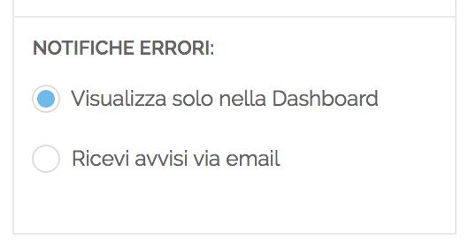 Opzioni di notifica degli errori di pubblicazione