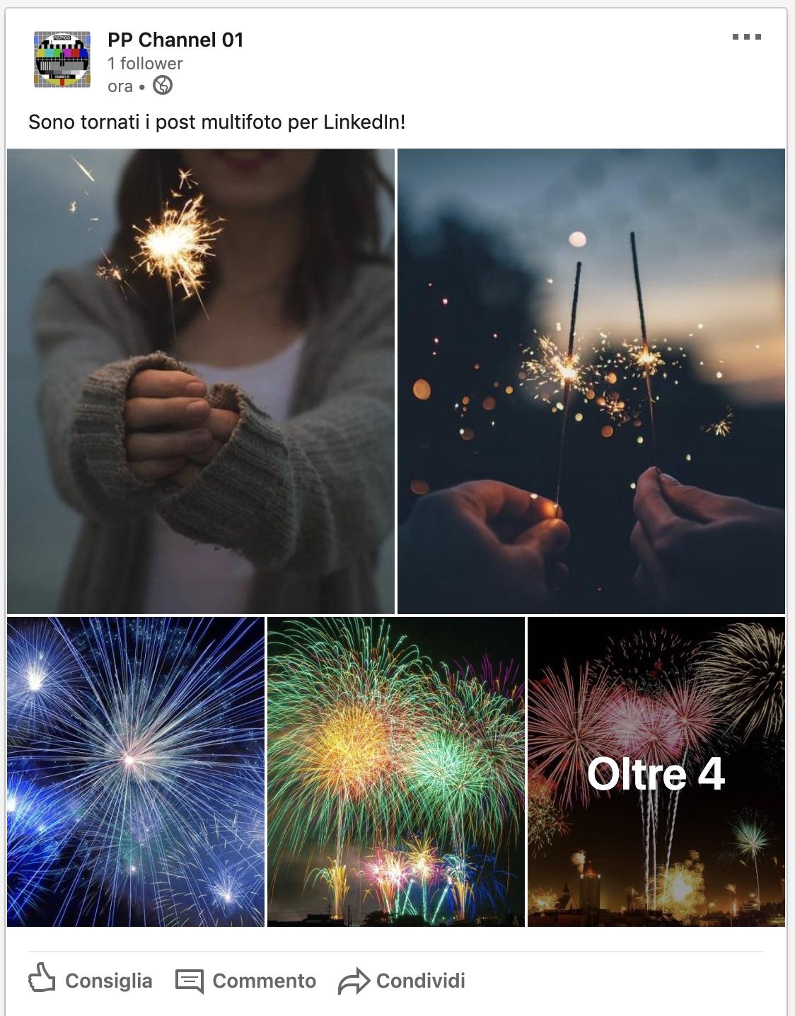 Un post multifoto pubblicato su LinkedIn