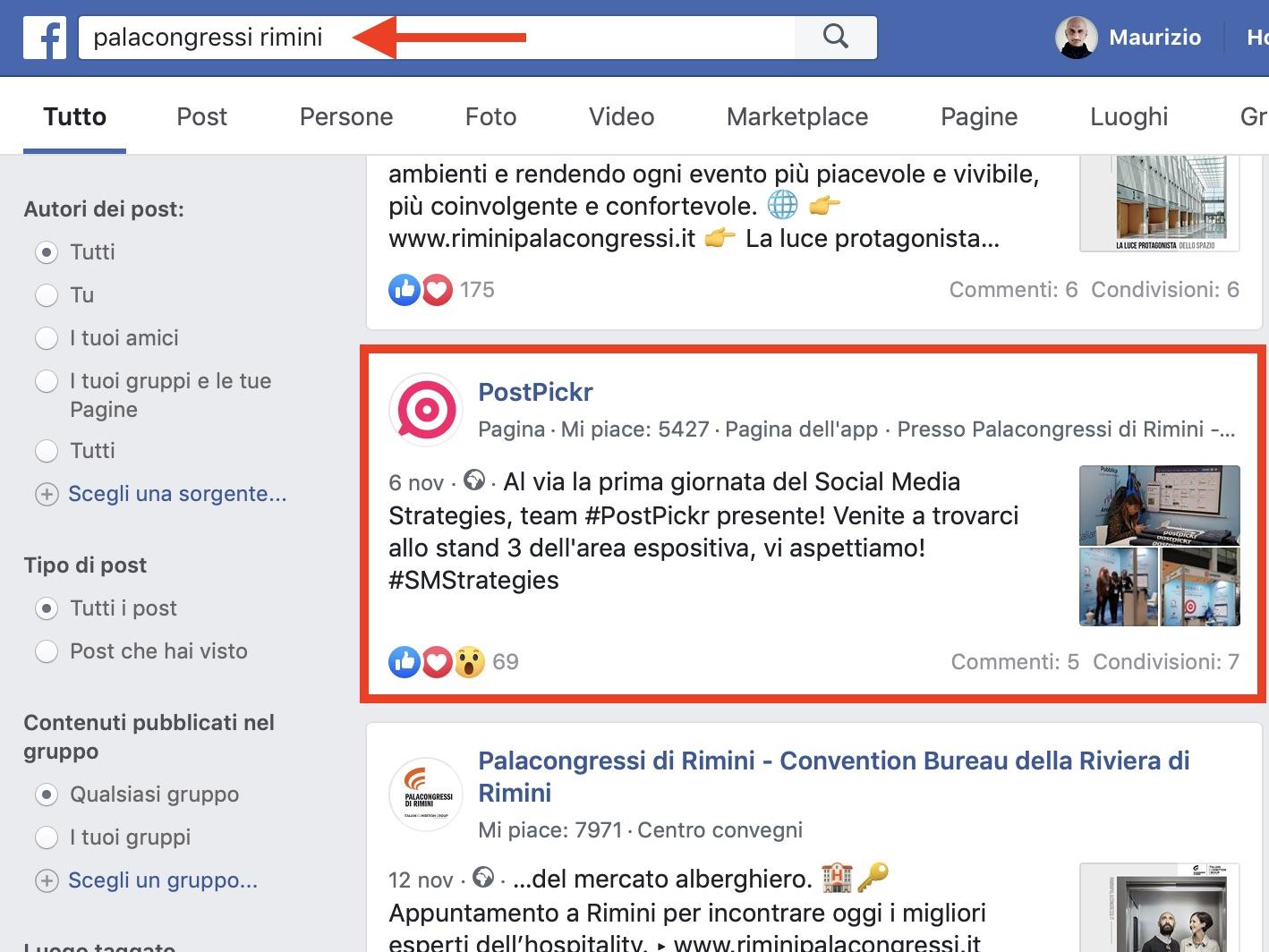Post geolocalizzato nei risultati di ricerca di Facebook