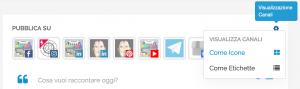 Menu delle opzioni di visualizzazione dei canali social