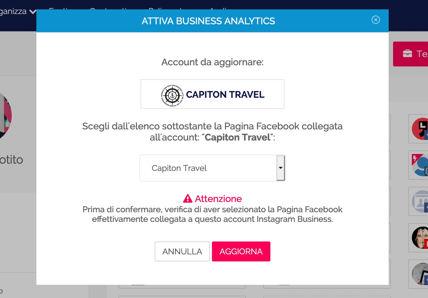 Collegamento dell'account business con la pagina Facebook