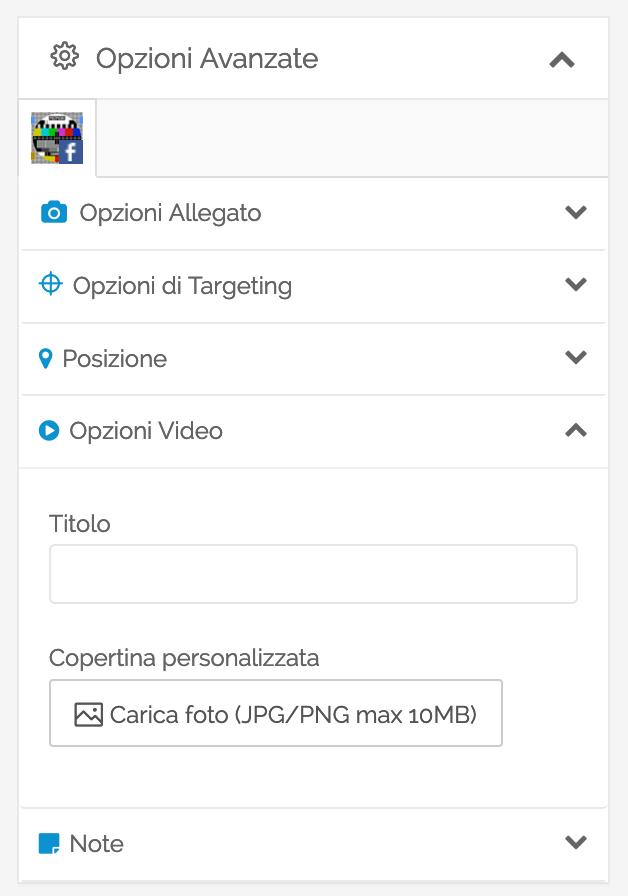 Opzioni avanzate video Facebook