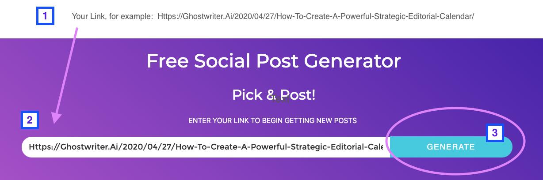 Il Social Post Generator di GhostWriter.ai