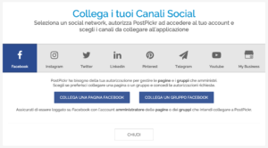 La schermata di collegamento dei canali social