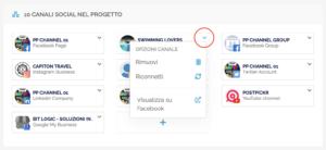 Sezione panoramica - canali social collegati nel progetto corrente