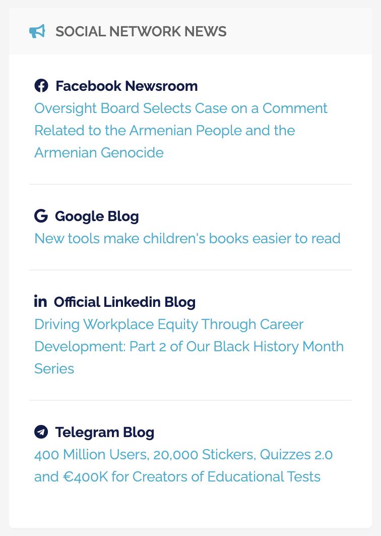 Sezione Panoramica - ultime news dei principali social network