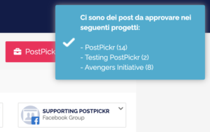 Il badge di notifica dei post da approvare