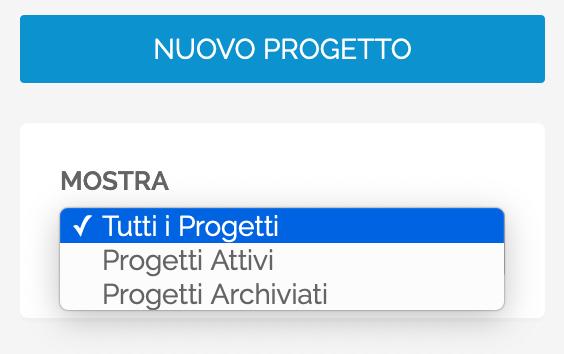 Il menu per filtrare i Progetti