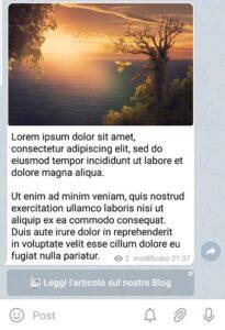 Un post con pulsante pubblicato su Telegram