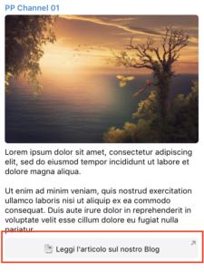 Un post pubblicato con un link in formato Pulsante