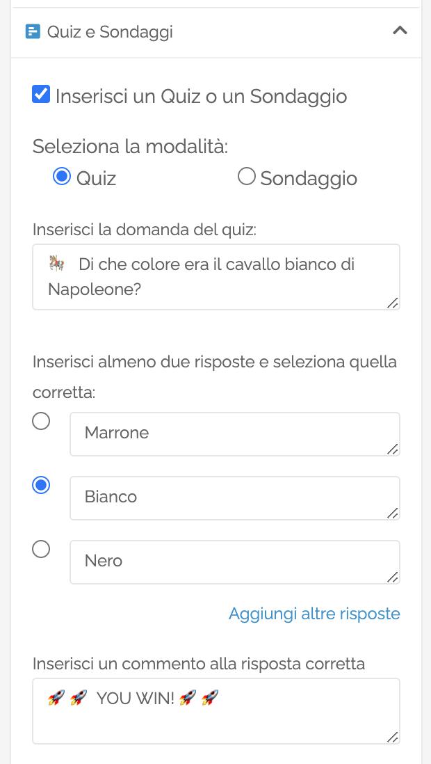 La sezione Quiz delle Opzioni Avanzate