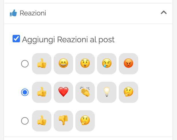 La sezione Reazioni delle Opzioni Avanzate