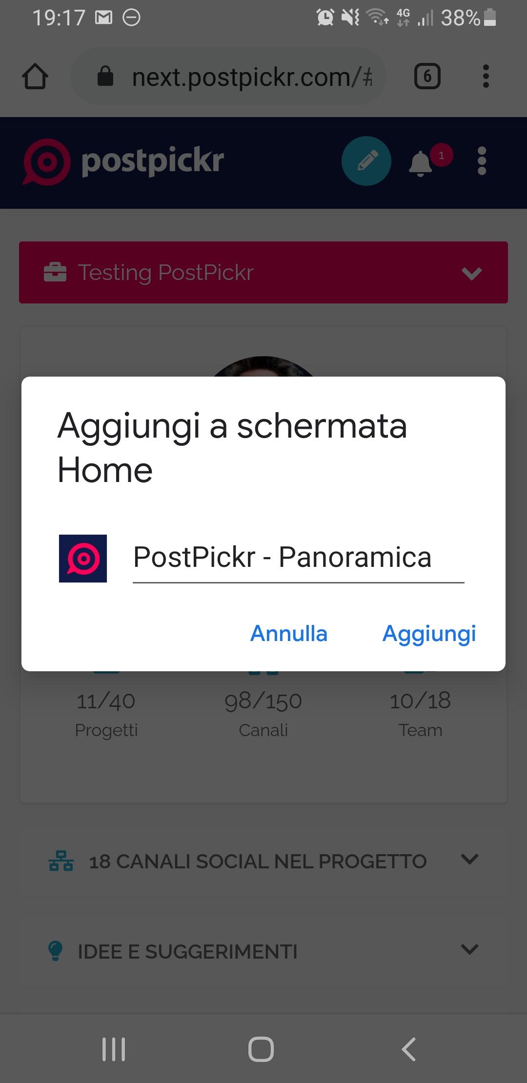 Menu delle opzioni del browser - Aggiungi a schermata Home