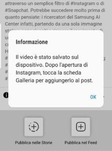 Avviso di salvataggio del video nel dispositivo dell'utente
