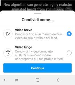 Finestra di invio come video breve o come video IGTV