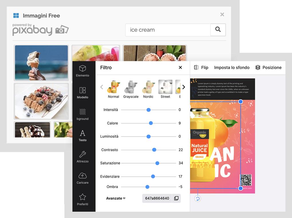 Immagini free Pixabay e visual editor di DesignBold