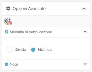 Opzioni avanzate - pubblicazione con notifica