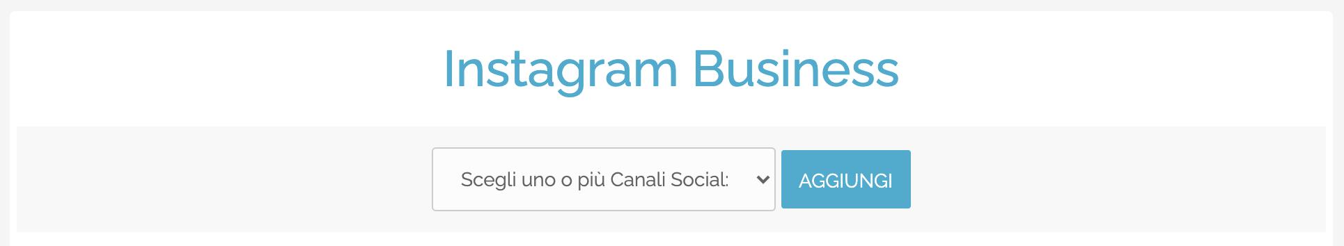 Finestra di scelta account Instagram Business