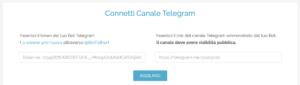 Collegamento telegram - inserimento token e link canale