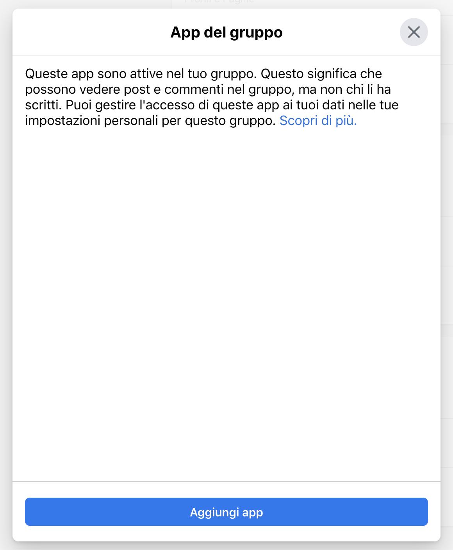 Finestra per aggiungere app al gruppo Facebook