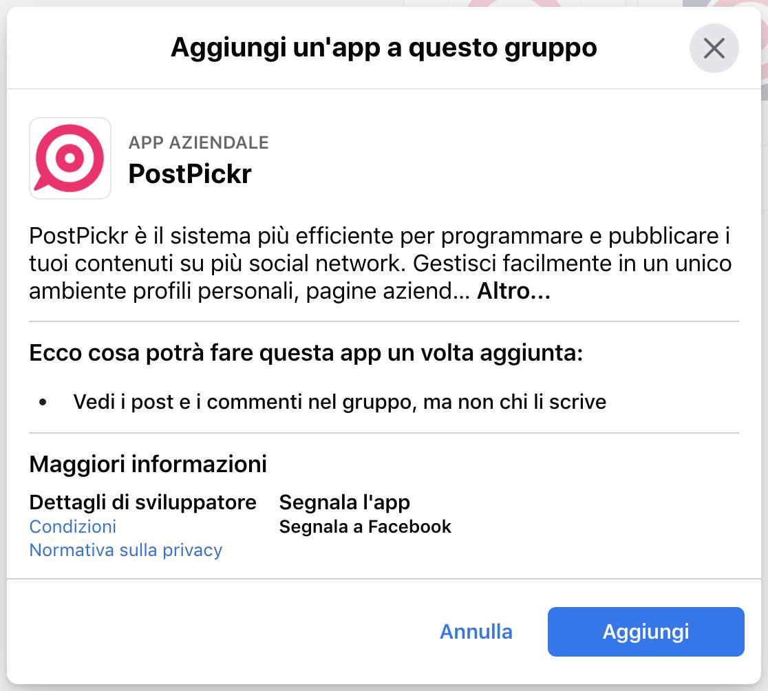 Conferma aggiunta app PostPickr al gruppo Facebook