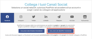 Finestra collegamento canali - pulsante Collega Gruppo Facebook
