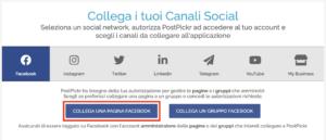 Finestra collegamento canali - pulsante Collega Pagina Facebook