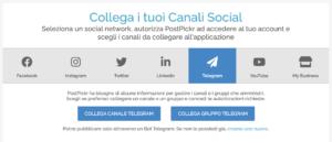 Finestra di collegamaneto canali e gruppi Telegram