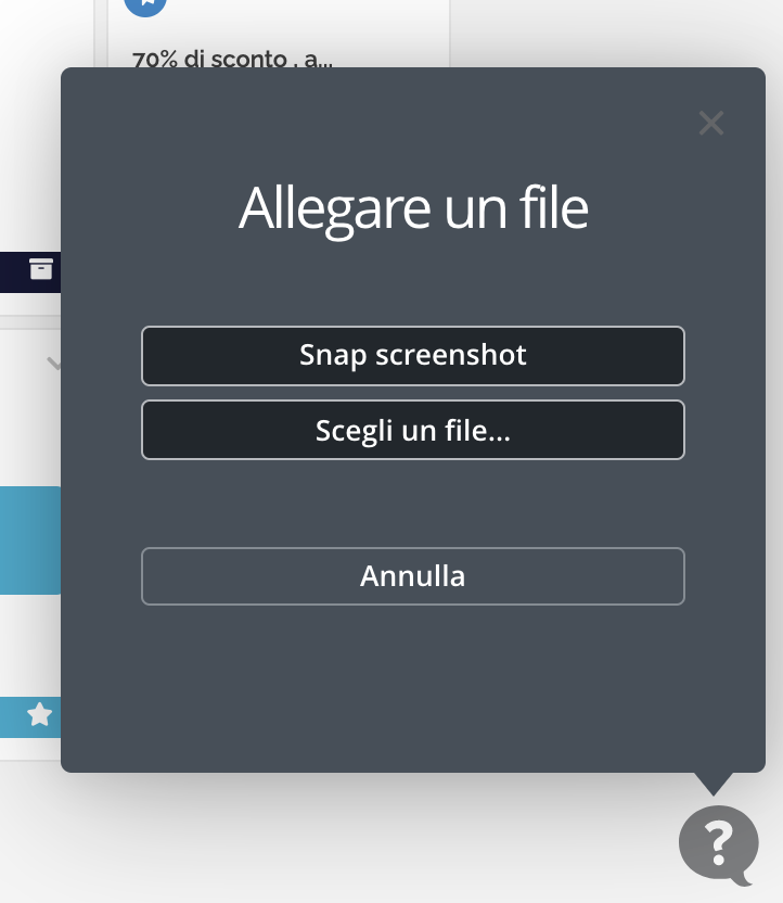 Finesta di caricamento file o screenshot