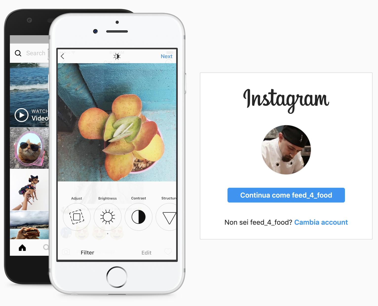 Finestra di login all'account Instagram.com